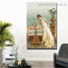 Admiring the Goldfish Reproduction Vintage Framed Artwork Portrait Canvas Print for Room Wall Assortment