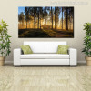 Sunrise Forest Painting Print for Living Room Decor