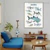 Sharks Animal Kids Modern Framed Painting Photograph Canvas Print for Room Wall Flourish