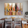 Colorful Town Abstract City Modern Framed Artwork Portrait Canvas Print for Room Wall Decor