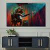 Orangutan Guitar Abstract Animal Framed Painting Image Canvas Print for Room Wall Molding