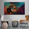 Orangutan Guitar Abstract Animal Framed Painting Image Canvas Print for Room Wall Adornment