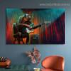 Orangutan Guitar Abstract Animal Framed Painting Image Canvas Print for Room Wall Onlay