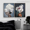 White Florets Topknot Figure Floral Modern Framed Painting Portrait Canvas Print for Room Wall Disposition