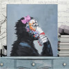 Thinking Monkey Painting Canvas Print