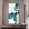 Turquoise Spatula Abstract Watercolor Framed Artwork Photo Canvas Print for Room Wall Assortment