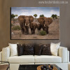 The African Grassland Landscape With Elephant Family Painting Print