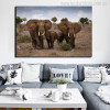The African Grassland Landscape With Elephant Family Painting Canvas Print for Wall Decor