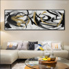 Black and Gold Abstract Curves Painting Canvas Print