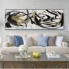 Black and Gold Abstract Curves Painting Print for Living Room