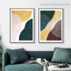 Green and Yellow Abstract Contemporary Framed Painting Pic Canvas Print for Room Wall Tracery