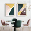 Green and Yellow Abstract Contemporary Framed Painting Pic Canvas Print for Room Wall Drape