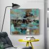 Blue Abstract Modern Painting Print for Study Room Decor