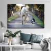 A Dog Leads a Horse Modern Picture Canvas Print