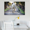 A Dog Leads a Horse Modern Picture Print for Dining Room Decor