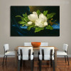 Giant Magnolias on a Blue Velvet Painting Canvas Print for Dining Hall Decor