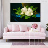 Giant Magnolias on a Blue Velvet Painting Print for Living Room Decor