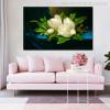 Giant Magnolias on a Blue Velvet Painting Print for Living Room Decor