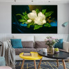 Giant Magnolias on a Blue Velvet Painting Print for Living Room Wall Art