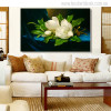 Giant Magnolias on a Blue Velvet Painting Print for Wall Decor