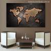 Globe Design Modern World Map Painting Canvas Print for Lounge Wall Decor