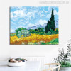 A Wheat Field with Cypresses Impressionist Painter Van Gogh Painting Print