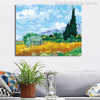 A Wheat Field with Cypresses Impressionist Painter Van Gogh Painting Canvas Print