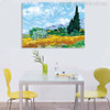 A Wheat Field with Cypresses Impressionist Painter Van Gogh Painting Print for Dining Room Decor