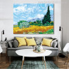 A Wheat Field with Cypresses Impressionist Painter Van Gogh Painting Print for Room Decor