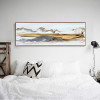 Chinese Mountains Hued Alluring Abstract Watercolor Painting Print for Bedroom Decor