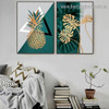 Golden Leaves Abstract Botanical Scandinavian Framed Artwork Picture Canvas Print for Room Wall Adornment