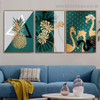 Dark Green Ananas Food And Beverage Nordic Framed Artwork Portrait Canvas Print for Room Wall Ornament
