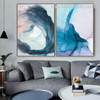 Indigo Dye Abstract Watercolor Nordic Framed Artwork Picture Canvas Print for Room Wall Arrangement