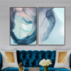 Ocean Marble Abstract Watercolor Nordic Framed Painting Photo Canvas Print for Room Wall Drape