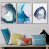 Blue Texture Abstract Watercolor Nordic Framed Painting Picture Canvas Print for Room Wall Adornment
