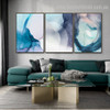 Blue Azure Slurry Abstract Watercolor Nordic Framed Portrayal Picture Canvas Print for Room Wall Decoration