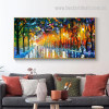 Rain Light Road Abstract Landscape Watercolor Modern Painting Pic Canvas Print for Room Wall Flourish