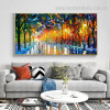 Rain Light Road Abstract Landscape Watercolor Modern Painting Image Canvas Print for Room Wall Arrangement