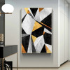 Black Yellow Marble Abstract Nordic Geometric Modern Painting Pic Canvas Print for Room Wall Drape