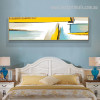 Gold Sea Abstract Landscape Modern Smudge Image Canvas Print for Room Wall Adornment