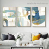 Golden Curvy Line Abstract Modern Artwork Picture Canvas Print for Room Wall Ornament