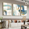 Golden Curvy Line Abstract Modern Artwork Photo Canvas Print for Room Wall Decoration