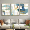 Golden Curvy Line Abstract Modern Artwork Portrait Canvas Print for Room Wall Adornment