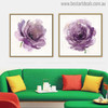 Purple Roses Abstract Modern Watercolor Painting Canvas Print for Living Room Decoration