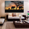 African Elephants Modern Landscape Picture Canvas Print