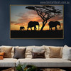 African Elephants Modern Landscape Picture Canvas Print for Living Room Decor