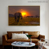 Sundown Africa Modern Landscape Photo Canvas Print for Living Room Decor