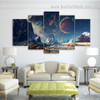 Mountains And Space Nature Landscape Modern Framed Effigy Picture Canvas Print For Room Wall Adornment