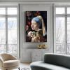 Pearl Earring Figure Vintage Artwork Picture Canvas Print for Room Wall Adornment