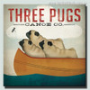 Three Pugs Animal Modern Typography Painting Canvas Print